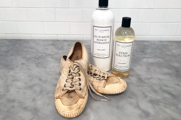 dirty shoes with product