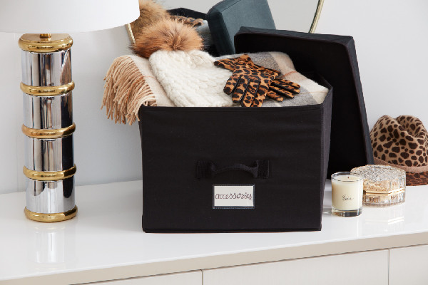 winter accessories in storage box