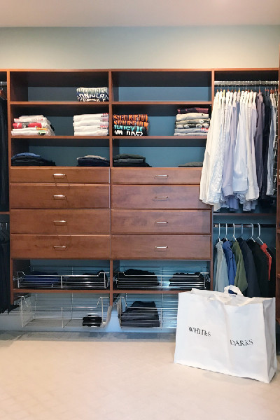 sorter in front of neat closet