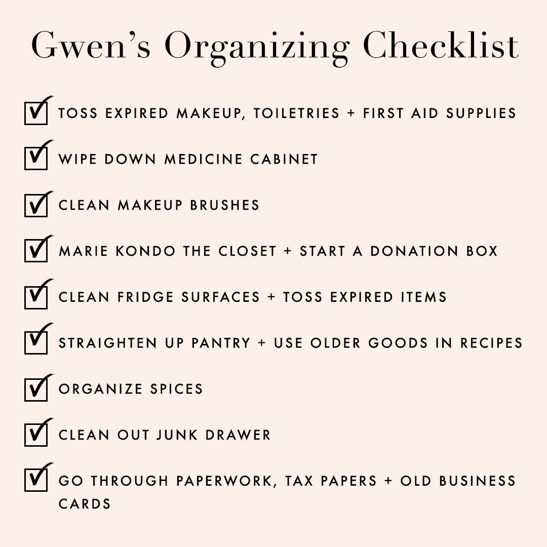 gwen's organization checklist