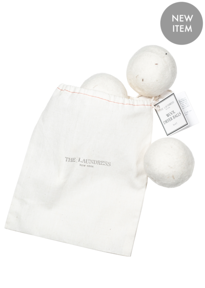 wool dryer balls in linen pouch